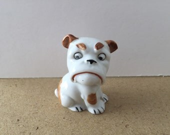 Cute Vintage Art Deco Porcelain Big Eyed Bull Dog Figurine - with a quizzical expression