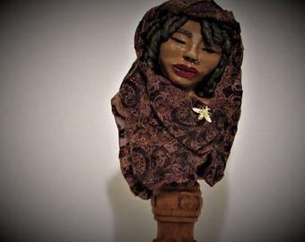 "OOAK Art Bust, ""Queen Bee"",  African Art Bust, Polymer Clay Statue by Sherry Harrison"