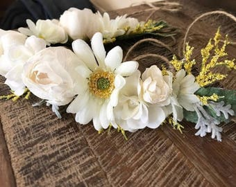 Daisy and Peony floral crown - Kid or Adult sizing