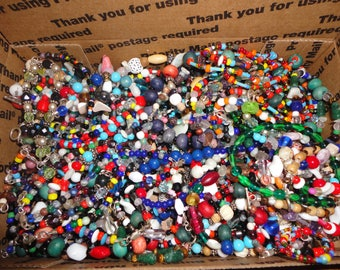 SALE ! Vintage Glass Beads - Small flat rate box full - lot 4 ,  beads , sterling , crafts , jewelry making , jewelry