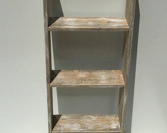 Rustic Decor Ladder/Free Standing Shelving/Farmhouse Shelf/Decorative Ladder/Rustic Shelf/Pallet Shelf/Large Shelf/ 3 Rung Ladder/Reclaimed