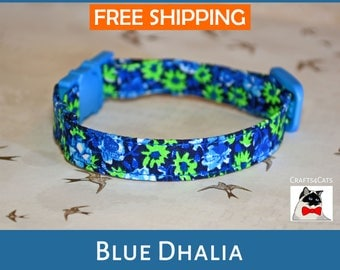 Fancy floral cat collar 'Blue Dhalia' Cat Collar - Pretty kitten collar - Cute Safety Cat Collar - Breakaway Cat Collar - Boho Style