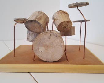 Miniature Driftwood Drum Kit Model