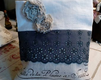 linen and broderie anglaise gray pouch