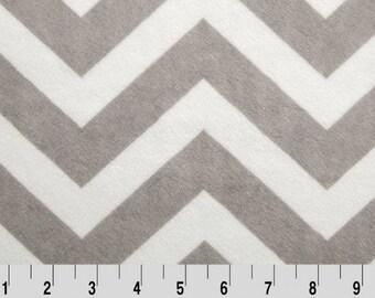 Shannon Minky Fabric, Shannon Cuddle Minky Fabric, Silver and Snow Chevron Minky Fabric, Chevron Minky Fabric, Fabric By The Yard