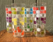 Vintage Anchor Hocking Color Blocks Tumblers/Cooler Glasses, Set of 4 — Cheery, Mod 1960s Style