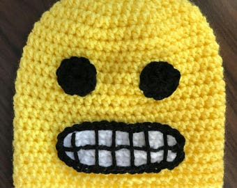 Smiley Face- Kids Hat- Yellow Hat- Winter Hat- Emoji Hat- Knit Hat- Emoji- Winter Hats- Toddler Hats- Winter Beanie- Crochet Hats- Character