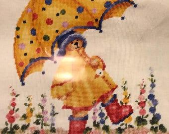 Needlepoint canvas yellow umbrella bear