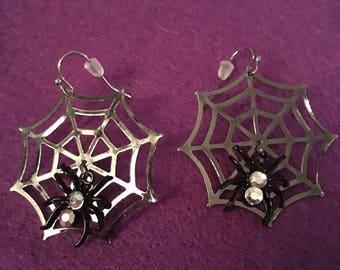 spider web halloween, diamonte silver plated earrings