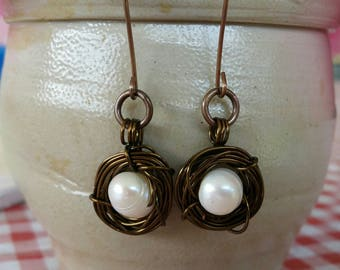 Copper Birds Nest with pearl wire wrapped earrings