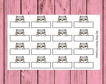 Mauly RBF Quarter Boxes - Hand Drawn IttyBitty Kitty Collection - Planner Stickers