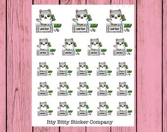 Game Night - Hand Drawn IttyBitty Kitty Collection - Planner Stickers