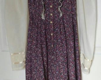 70's Purple Calico Floral Cotton and Lace Gunne Sax Prairie Maxi Dress, Size XS/ XXS