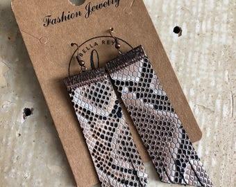 Leather fringe snakeskin earrings