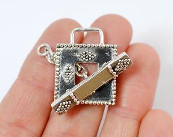 Large Decorative Sterling Silver Square Toggle Clasp / CSP014