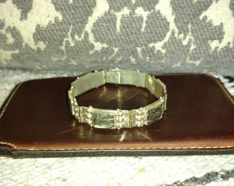 Beautiful Vintage 60's/70's Mexican Abolone Sterling silver bracelet