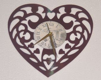 Valentines Day Heart (red album) themed Vinyl Album Record Clock made in the > USA < with FREE Shipping!