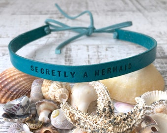 Secretly a mermaid choker, turquoise leather necklace, summer necklace festival Jewelry, gift for girlfriend, teen girl sea blue accessory,