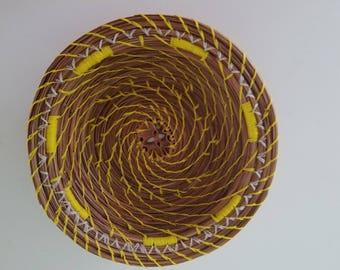 Yellow Pine Needle Basket - Natural - Handmade organic recycled material Black Walnut slice - Bowl Gift - Hand Made in FL USA - 34.00