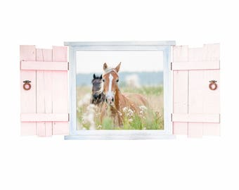 023 wall decals horses in the window with shutters