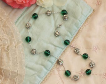 Vintage green glass and diamante necklace