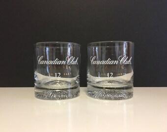 Retro Canadian Club Rocks Whiskey Glasses