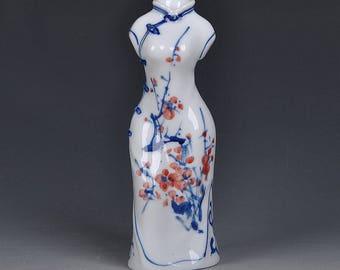 Small Glazed Hand-painted  Ceramic Qipao