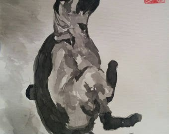 "Drawing in ink wash ""Cat in the toilet"""