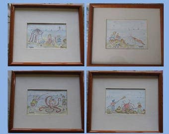 "Set of 4 framed original watercolor paintings ""Children at the beach"""