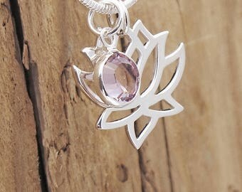 Sterling Silver Tiny Lotus Blossom Birthstone Charm Necklace Personalize