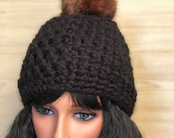 Satin lined pom pom beanie, Women winter hat, Warm winter hat for cold winter wind and keeps frizz at bay.