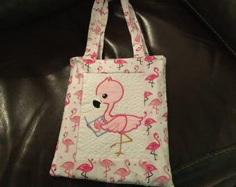 Girls flamingo book tote bag