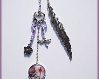 Bookmark cabochon Dragonfly and feather