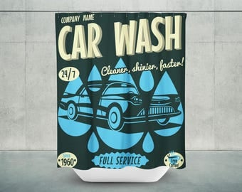 Car Wash Bath Shower Curtain | Car Wash Shower Curtain | Car Wash Bath Curtain | Car Wash Bathroom Decor | DAD Gift | Shower Curtain for Men