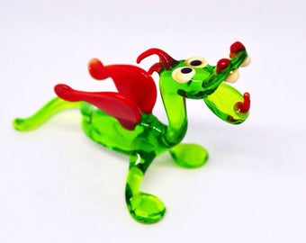 Green glass dragon figurines small sculpture miniature artisan stained glass perfect gift murano paperweight home decoration glasswork flame