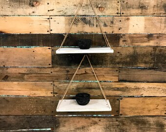 Set of Two Medium Industrial Shelves / Swing Shelves / Industrial Shelving / Hanging Shelves / Rustic Shelves /Pallet Shelves / Rustic Shelf