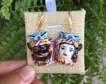 Heads of the Moor, ceramic, handmade earrings earrings, earrings from Sicily, Sicilian ceramics, handmade ceramic heads del moro, earrings