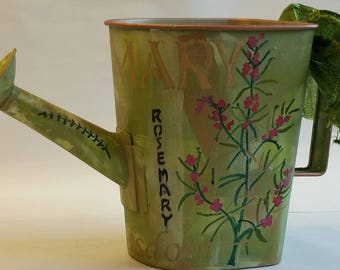 "Large Watering Can Planter ""ROSEMARY"" from the HERBORISTE collection"