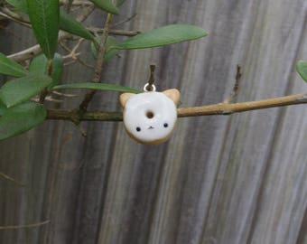 Cat doughnut charm; cute, handmade, polymer clay, cat donut charm