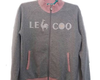 Le Coq Sportif big spell out logo zipped up sweatshirt small size womens