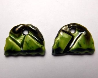 Handmade Ceramic Earring Charms Pair boho ,Earring Supplies,handmade jewelry components,Ceramic Earring Components / set #766
