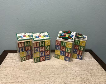 Vintage Packaged Alphabet and Numbered Wood Blocks - Sealed Packages