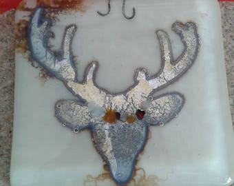 Stag wall hanging. Fused glass. Vanilla. Silver.
