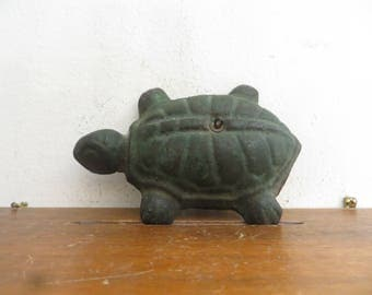 Vintage cast iron Turtle paperweight, yard decor, hang it or not.