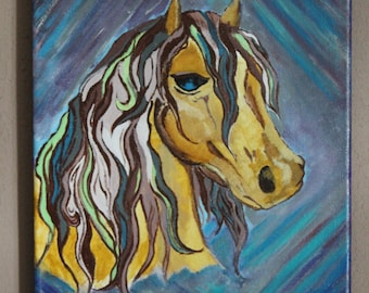 """Original Horse Painting """"colorful Beauty"""", canvas art, wall art, acrylic painting"""