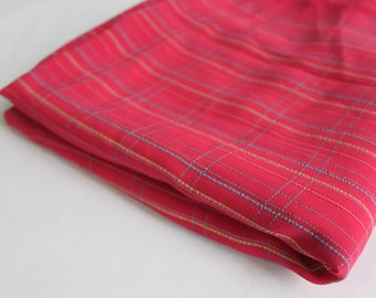 Pink with blue and yellow stripe polyester
