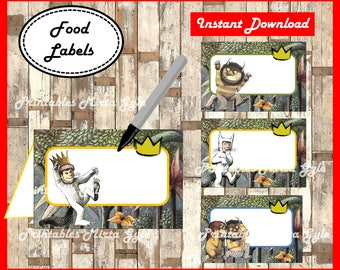 Where The Wild Things Are Food labels, printable Where The Wild Things Are party food tent cards ,Where The Wild Things Are food tent cards