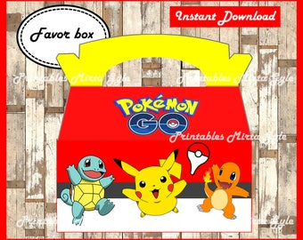 Pokemon Gable box, Printable Pokemon box, Pokemon party box Instant download