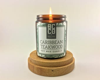 Caribbean Teakwood Candle, Scented Candle, Masculine Scent, Tobacco Candle, Sandalwood Candle, Vegan, All Natural Candle, Eco Friendly