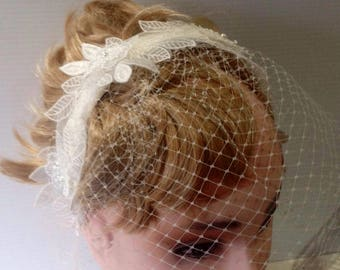 brides  white lace headband with birdcage veil